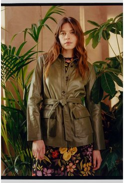 Olive Leather Belted Shacket