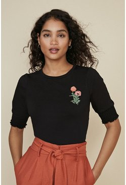 Black Embroidered Shirred Cuff T Shirt