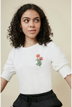 Ivory Embroidered Shirred Cuff T Shirt