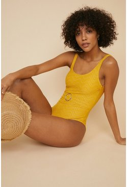 Yellow Belted Sparkle Swimsuit