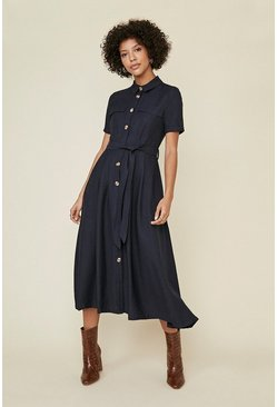 Dark navy Linen Look Button Through Shirt Dress