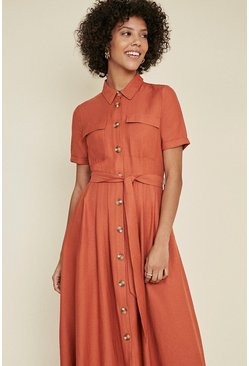 Rust Linen Look Button Through Shirt Dress