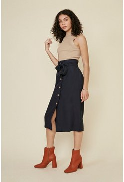 Dark navy Button Through Linen Look Skirt