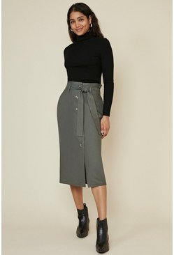 Olive Button Through Linen Look Skirt