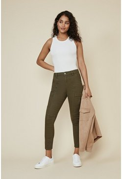 Khaki Zip Detail Cargo Trouser