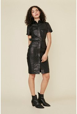 Black Belted Leather Mini Dress