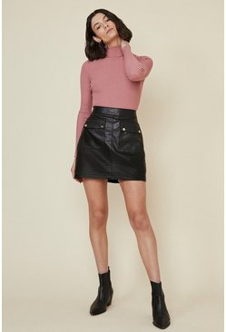 Black Leather Mini Skirt