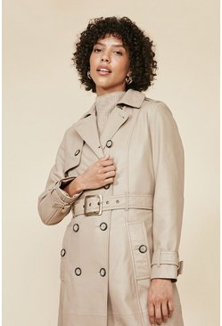 Natural Leather Trench Coat