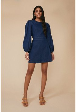 Dark wash Balloon Sleeve Denim Dress