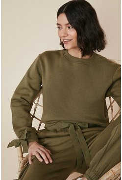 Khaki Bow Detail Utility Sweat