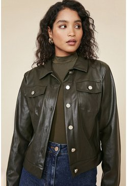 Green Pu Button Front Jacket