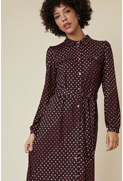 Black Shadow Spot Midi Jersey Shirt Dress