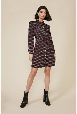 Black Shadow Spot Jersey Shirt Dress