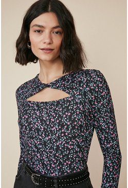Multi Ditsy Twist Front Cut Out Top