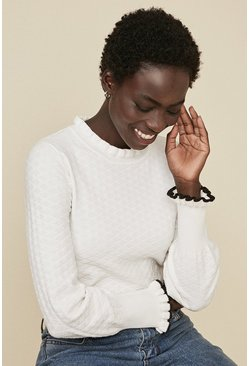 Ivory Frill Neck Stitch Jumper