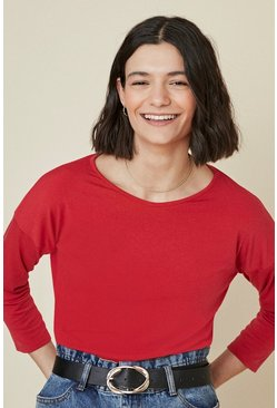 Red Drop Sleeve Top