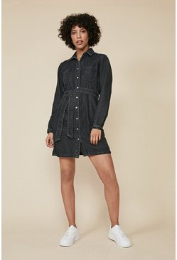 Black Denim Belted Button Through Dress