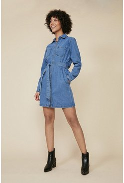 Mid wash Denim Belted Button Through Dress