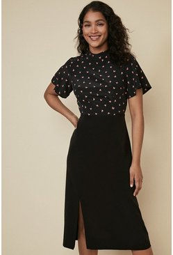 Black Heart Print 2 In 1 Midi Dress
