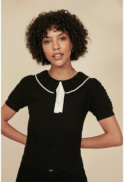 Black Frill Neck Stitch T Shirt