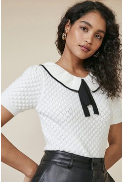 Ivory Frill Neck Stitch T Shirt