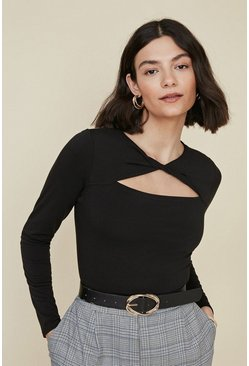 Black Twist Front Cut Out Long Sleeve Top