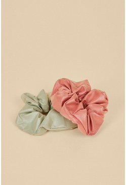 Multi 2 Pack Faux Leather Scrunchies