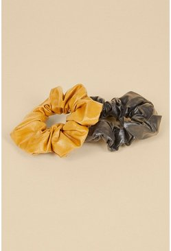 Ochre 2 Pack Faux Leather Scrunchies