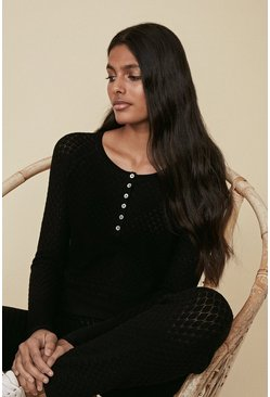 Black Diamond Stitch Placket Jumper