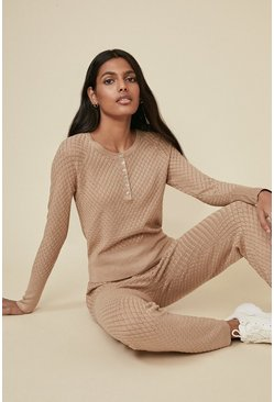 Camel Diamond Stitch Placket Jumper