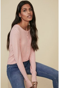 Pink Diamond Stitch Crew Cardigan