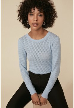 Blue Diamond Stitch Crew Jumper