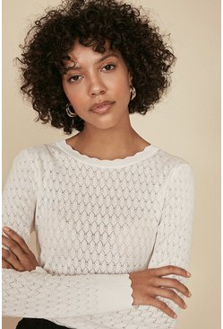 Ivory Diamond Stitch Crew Jumper