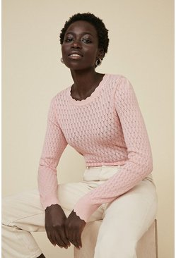 Pink Diamond Stitch Crew Jumper
