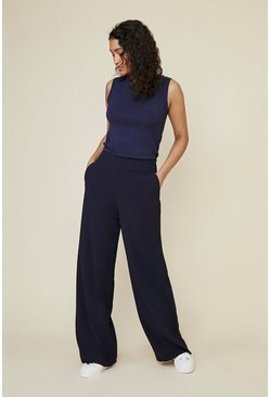 Navy Wide Leg Palazzo Trouser