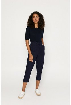 Navy Frill Top Peg Trouser