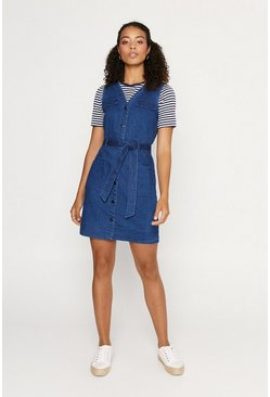 Denim Popper Front Utility Dress