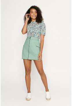 Pale green Zip Through Utility Skirt