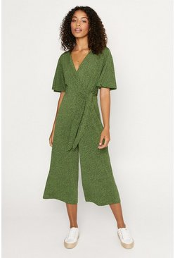 Green Animal Tie Side Jumpsuit