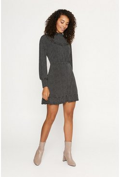 Black Spot Bib Skater Dress