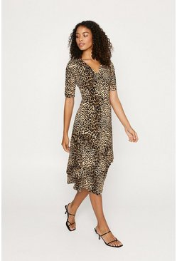 Animal Ruffle Tiered Midi Dress
