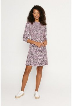 Multi Textured Print Smocked Skater Dress