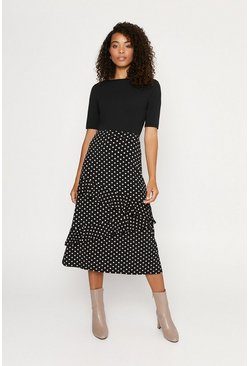 Blue Spot Tiered Midi Skirt