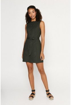 Khaki Texture Shift Dress