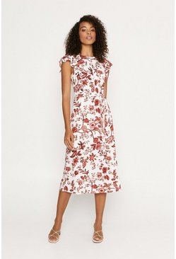 Multi Floral Frill Sleeve Midi Dress