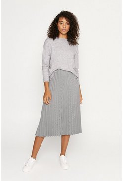 Multi Dogtooth Pleated Midi Skirt