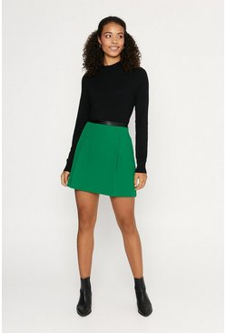 Green Button Detail Mini Skirt