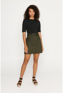 Khaki Button Through Pocket Skirt