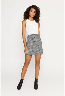 Blackwhite Gingham Button Through Mini Skirt