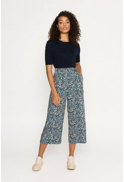 Multi Crushed Ditsy Crop Wide Trouser